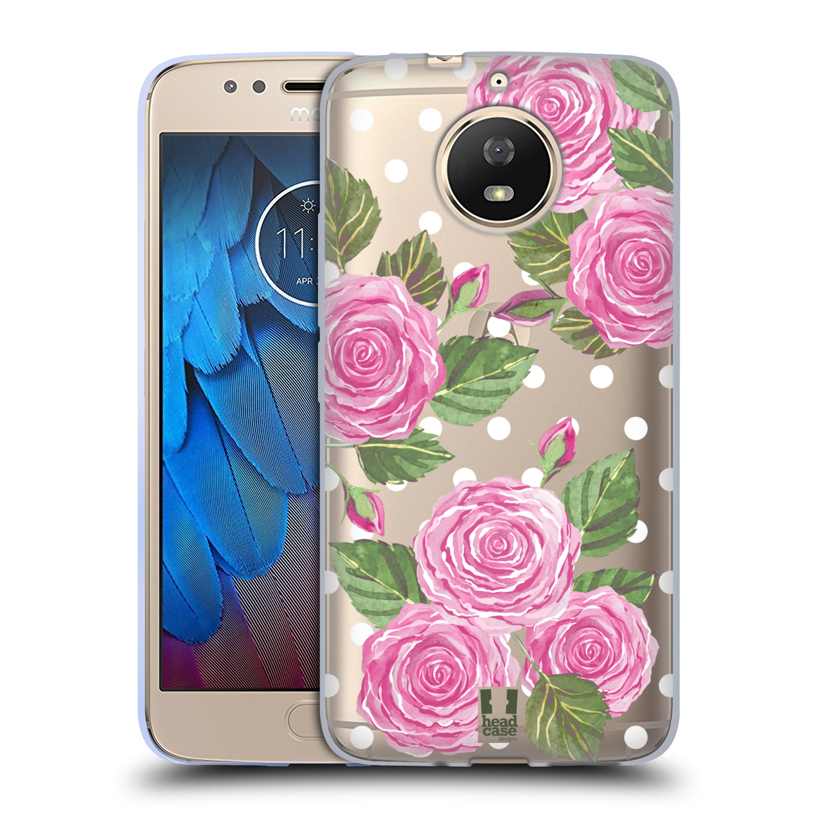Silikonové pouzdro na mobil Lenovo Moto G5s - Head Case - Hezoučké růžičky - průhledné