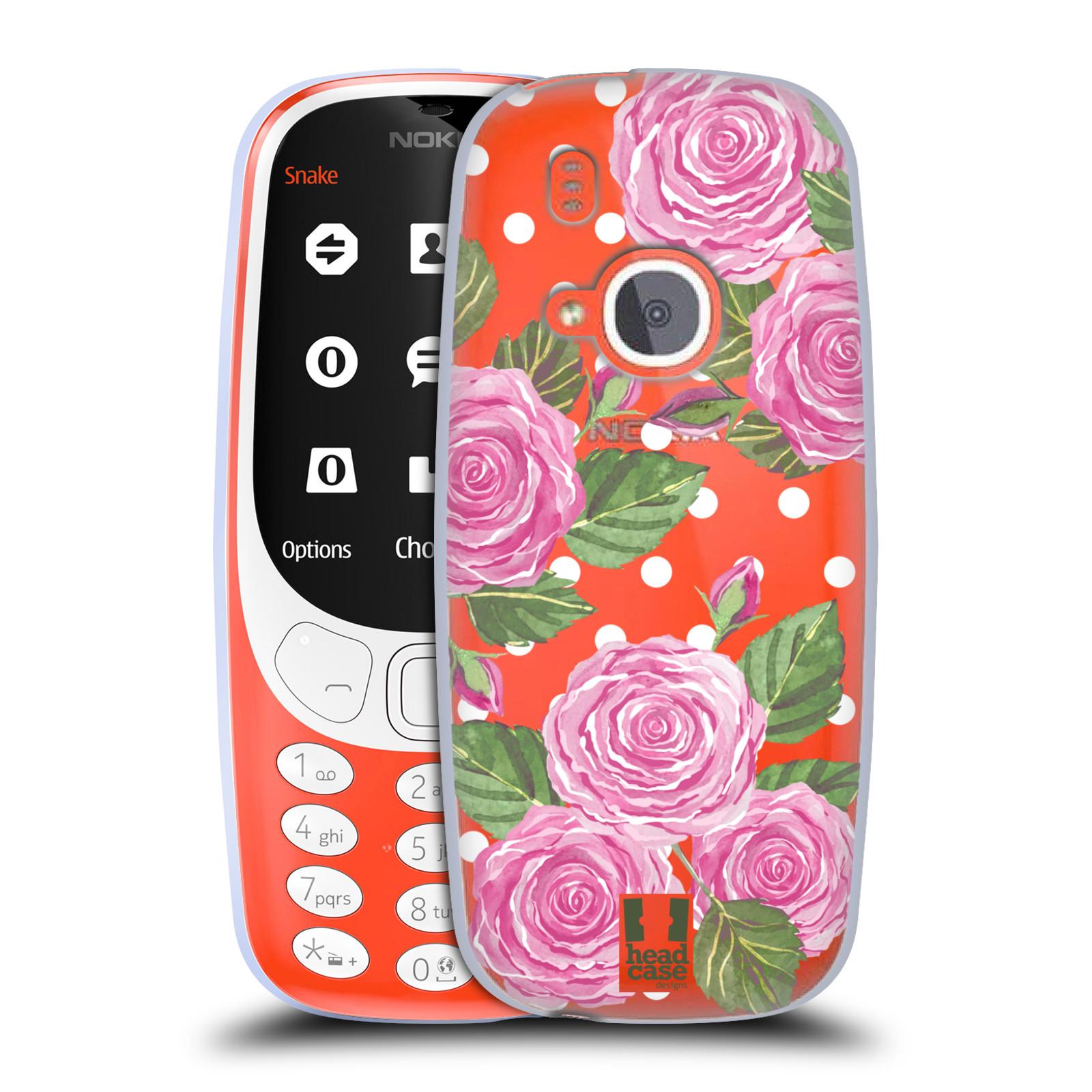 Silikonové pouzdro na mobil Nokia 3310 - Head Case - Hezoučké růžičky - průhledné