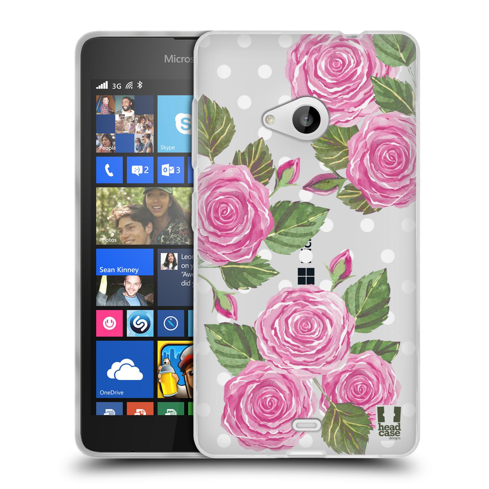 Silikonové pouzdro na mobil Microsoft Lumia 535 - Head Case - Hezoučké růžičky - průhledné