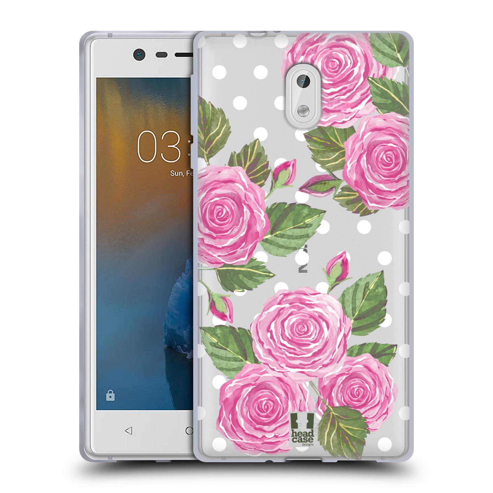 Silikonové pouzdro na mobil Nokia 3 Head Case - Hezoučké růžičky - průhledné
