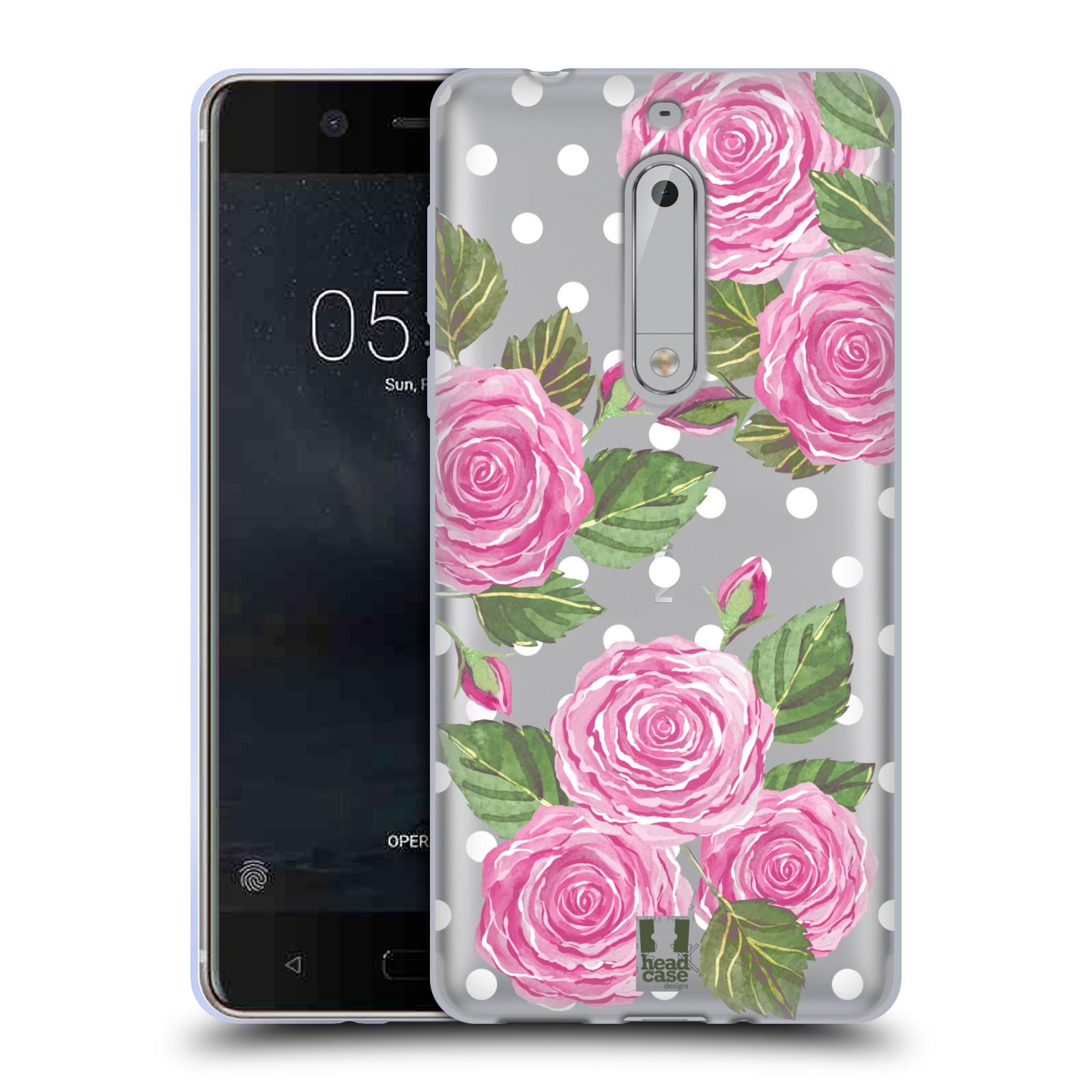 Silikonové pouzdro na mobil Nokia 5 Head Case - Hezoučké růžičky - průhledné