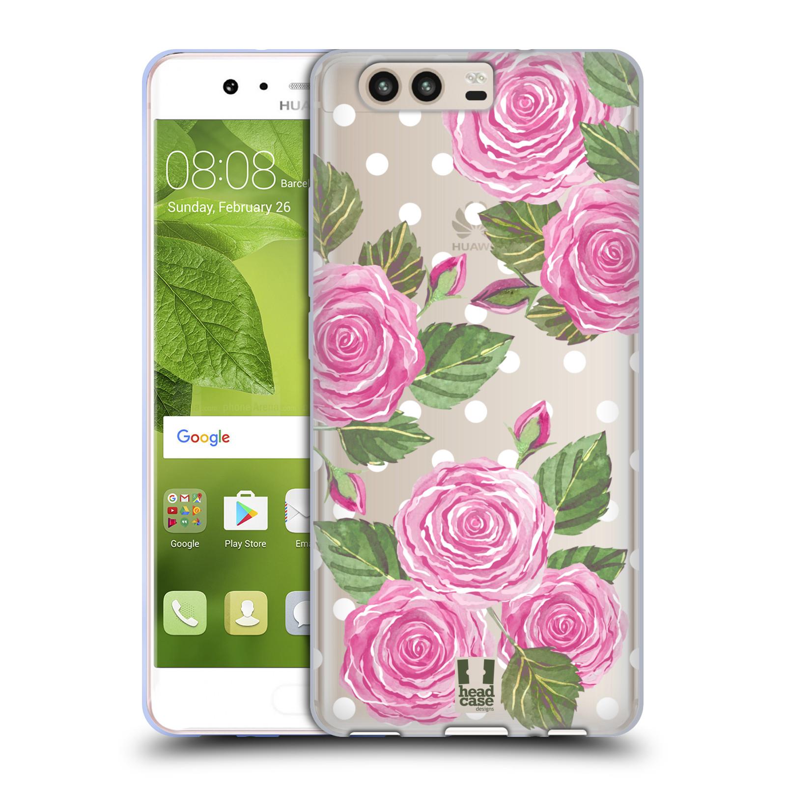 Silikonové pouzdro na mobil Huawei P10 - Head Case - Hezoučké růžičky - průhledné