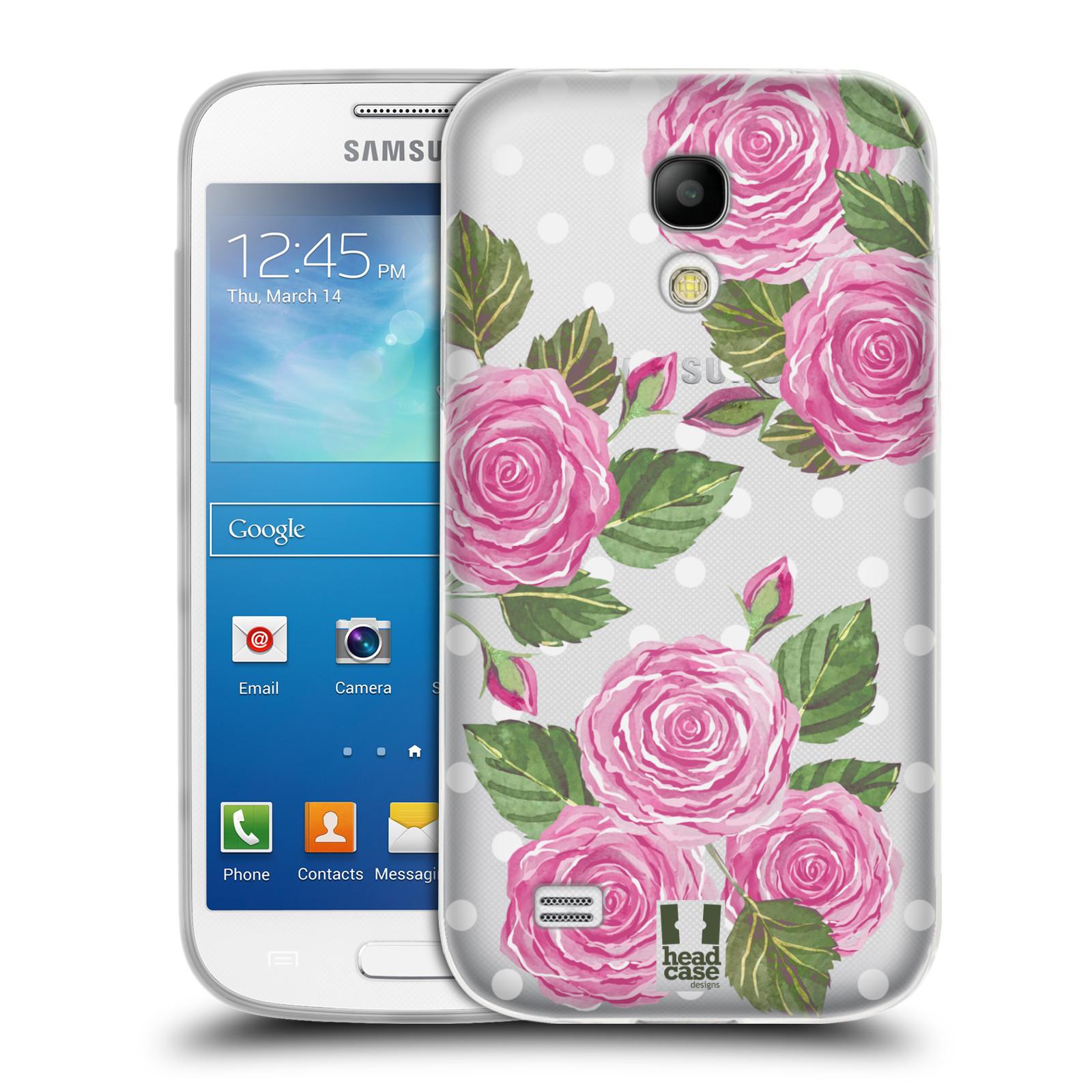 Silikonové pouzdro na mobil Samsung Galaxy S4 Mini - Head Case - Hezoučké růžičky - průhledné