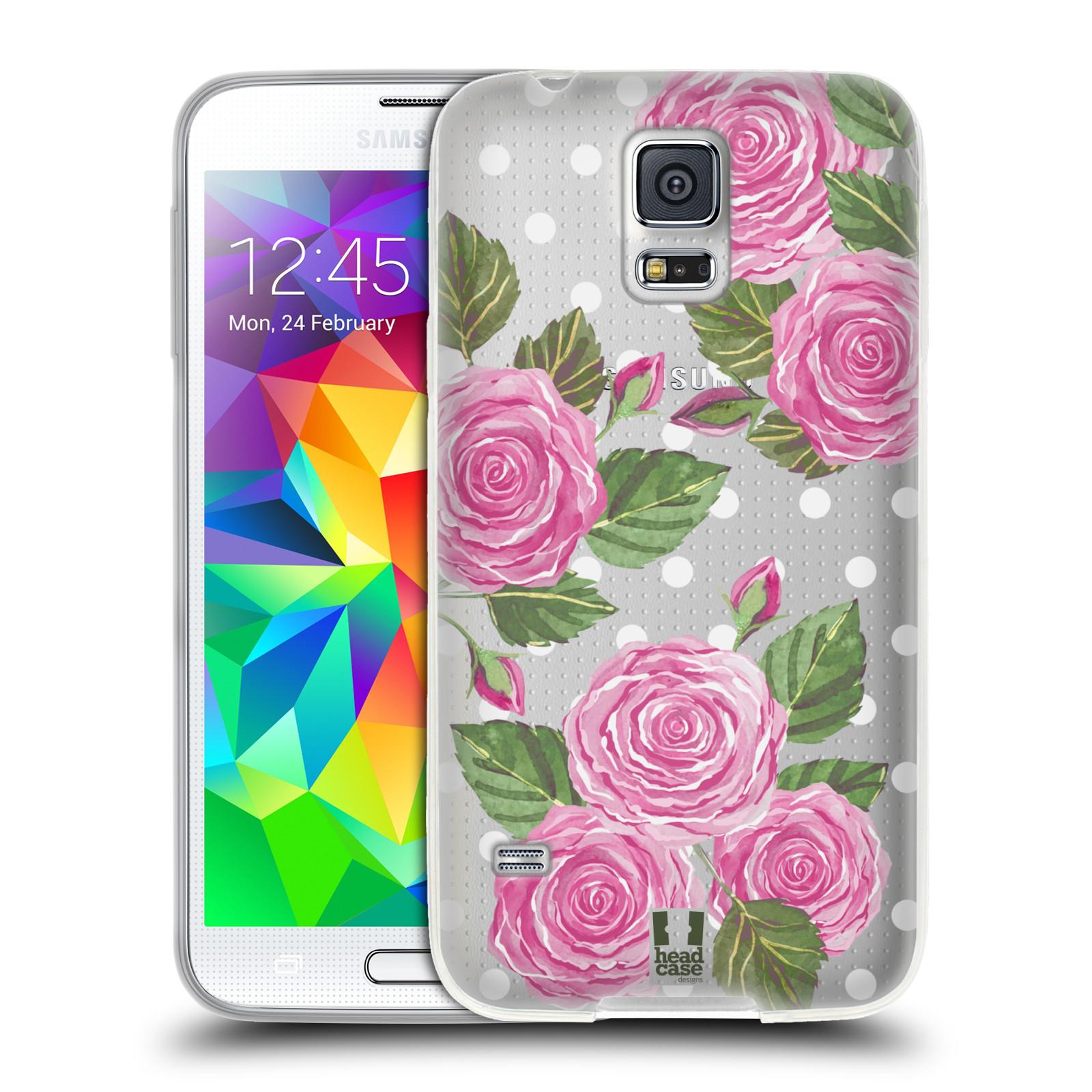 Silikonové pouzdro na mobil Samsung Galaxy S5 - Head Case - Hezoučké růžičky - průhledné