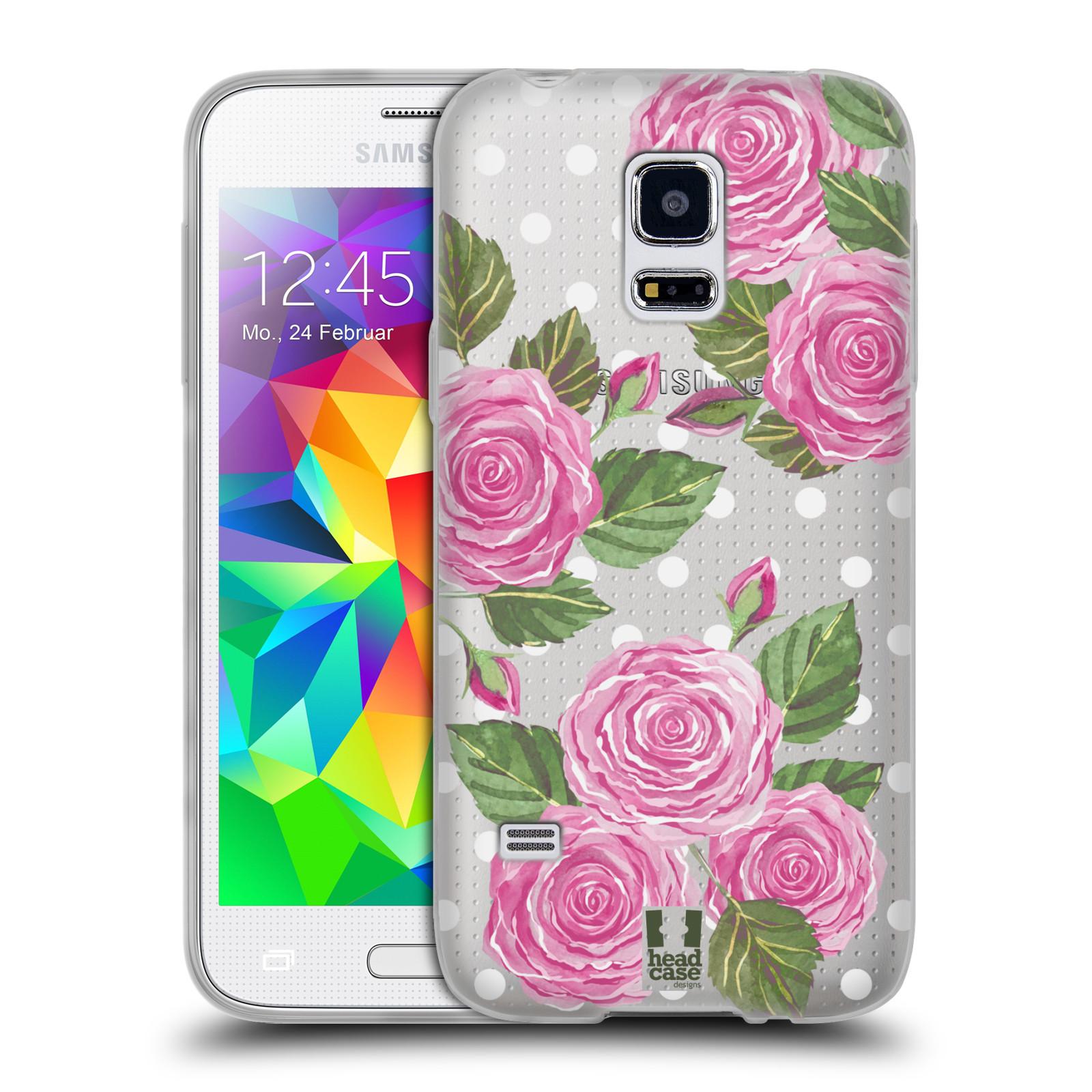 Silikonové pouzdro na mobil Samsung Galaxy S5 Mini - Head Case - Hezoučké růžičky - průhledné