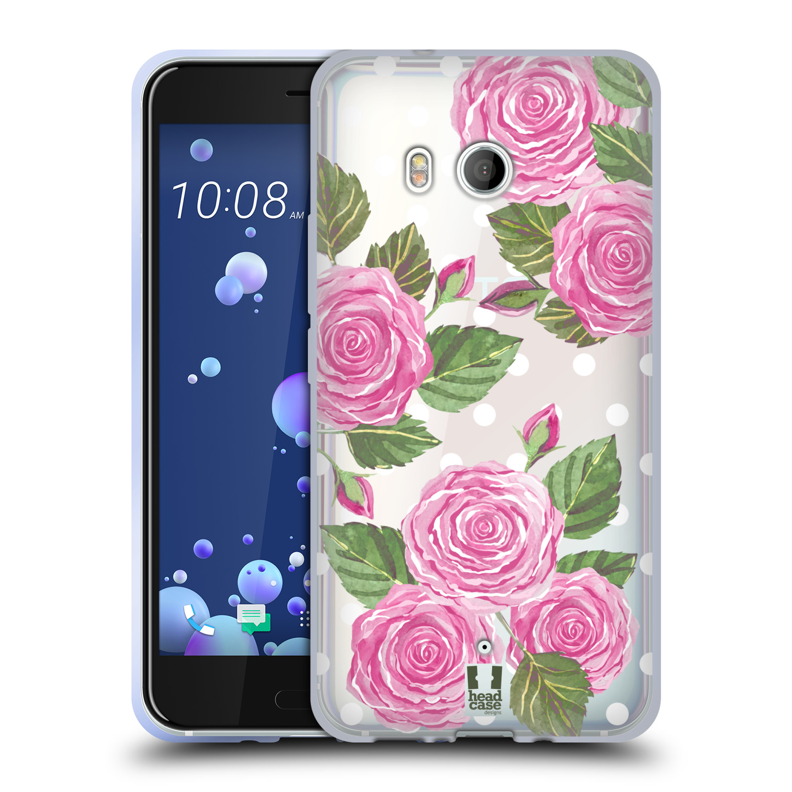 Silikonové pouzdro na mobil HTC U11 - Head Case - Hezoučké růžičky - průhledné