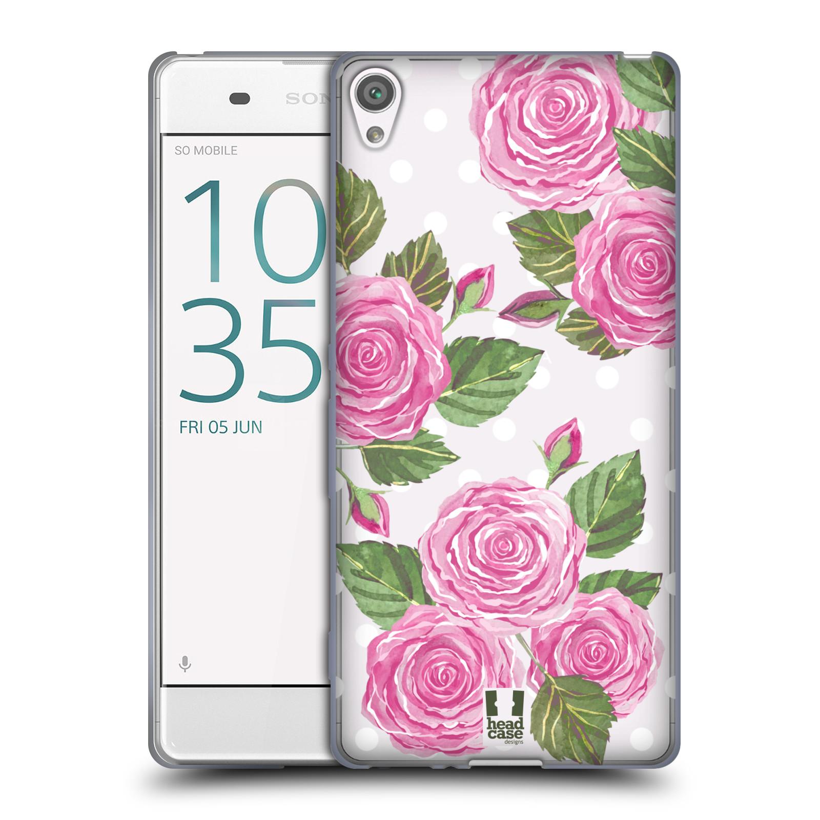 Silikonové pouzdro na mobil Sony Xperia XA - Head Case - Hezoučké růžičky - průhledné