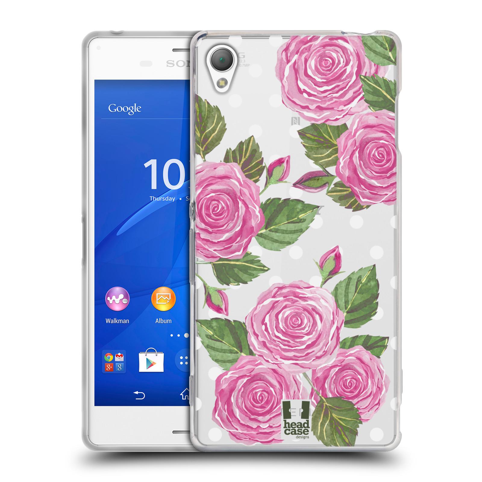 Silikonové pouzdro na mobil Sony Xperia Z3 D6603 - Head Case - Hezoučké růžičky - průhledné