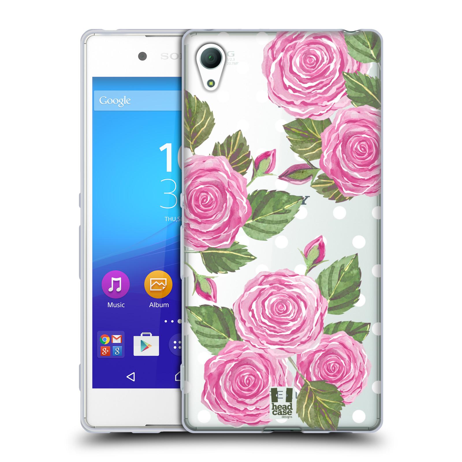 Silikonové pouzdro na mobil Sony Xperia Z3+ (Plus) - Head Case - Hezoučké růžičky - průhledné