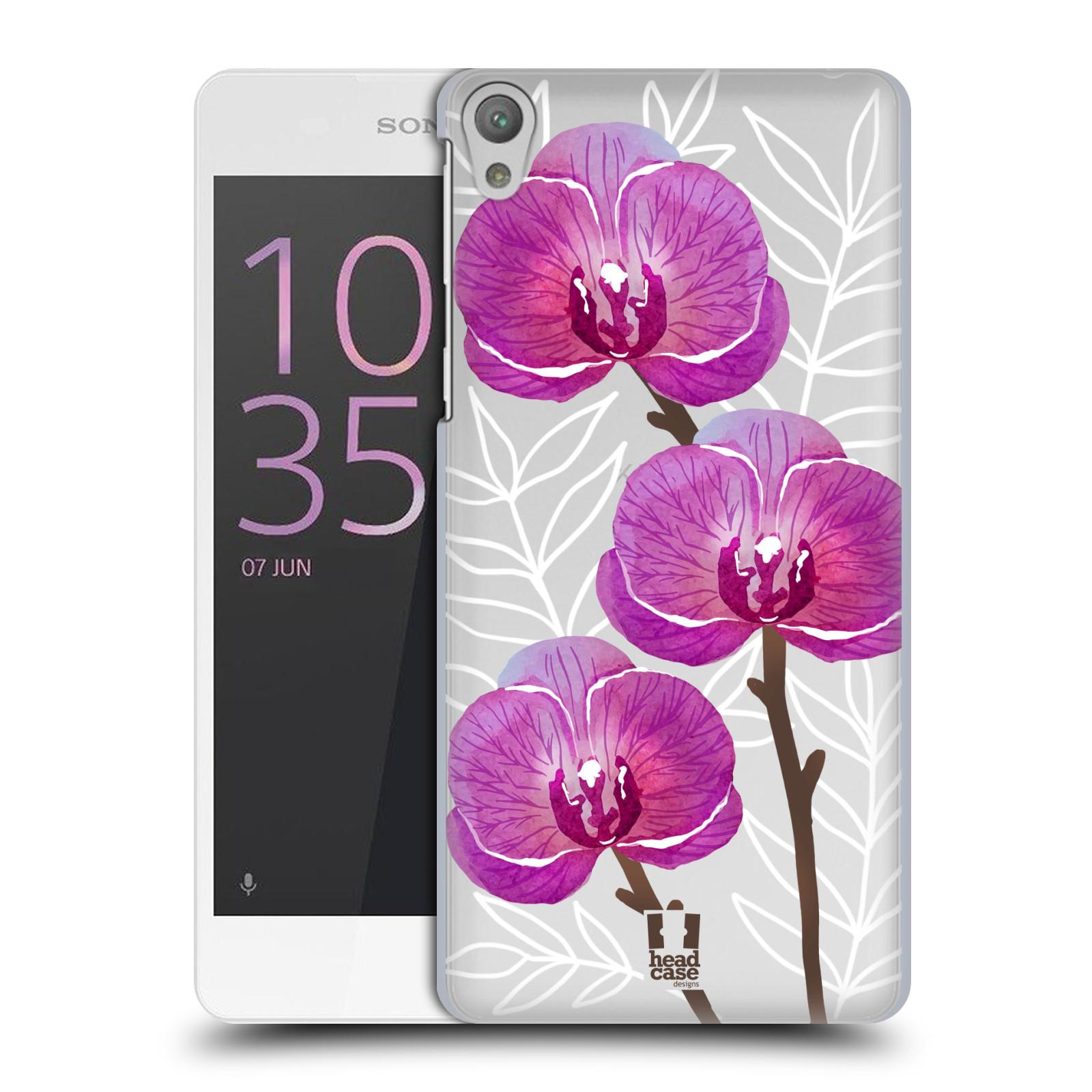 Plastové pouzdro na mobil Sony Xperia E5 - Head Case - Hezoučké kvítky - průhledné