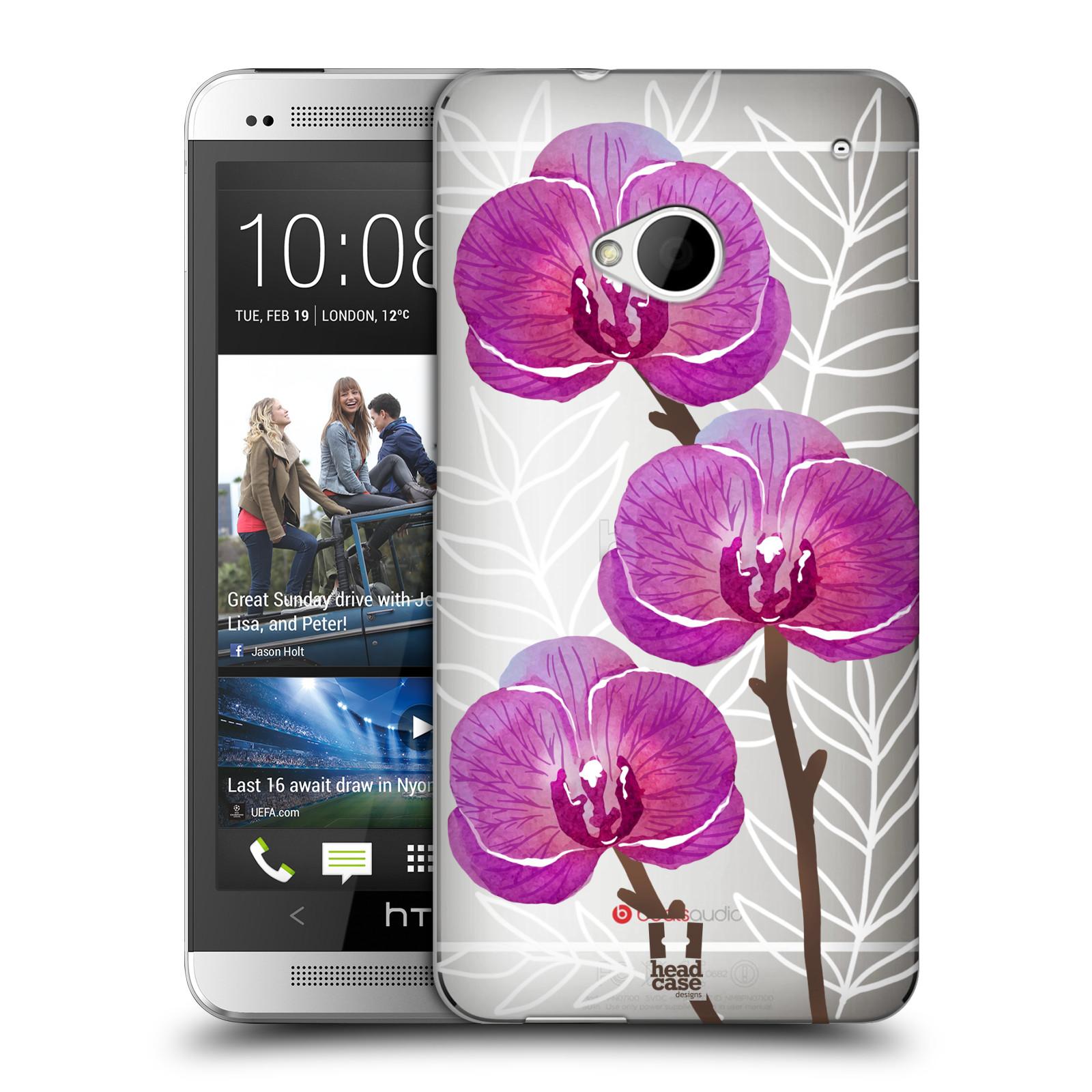 Plastové pouzdro na mobil HTC ONE M7 - Head Case - Hezoučké kvítky - průhledné