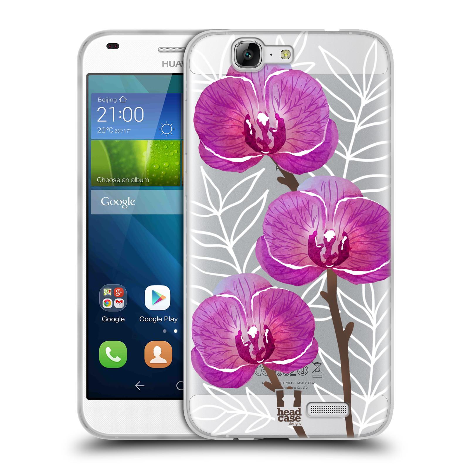 Silikonové pouzdro na mobil Huawei Ascend G7 - Head Case - Hezoučké kvítky - průhledné