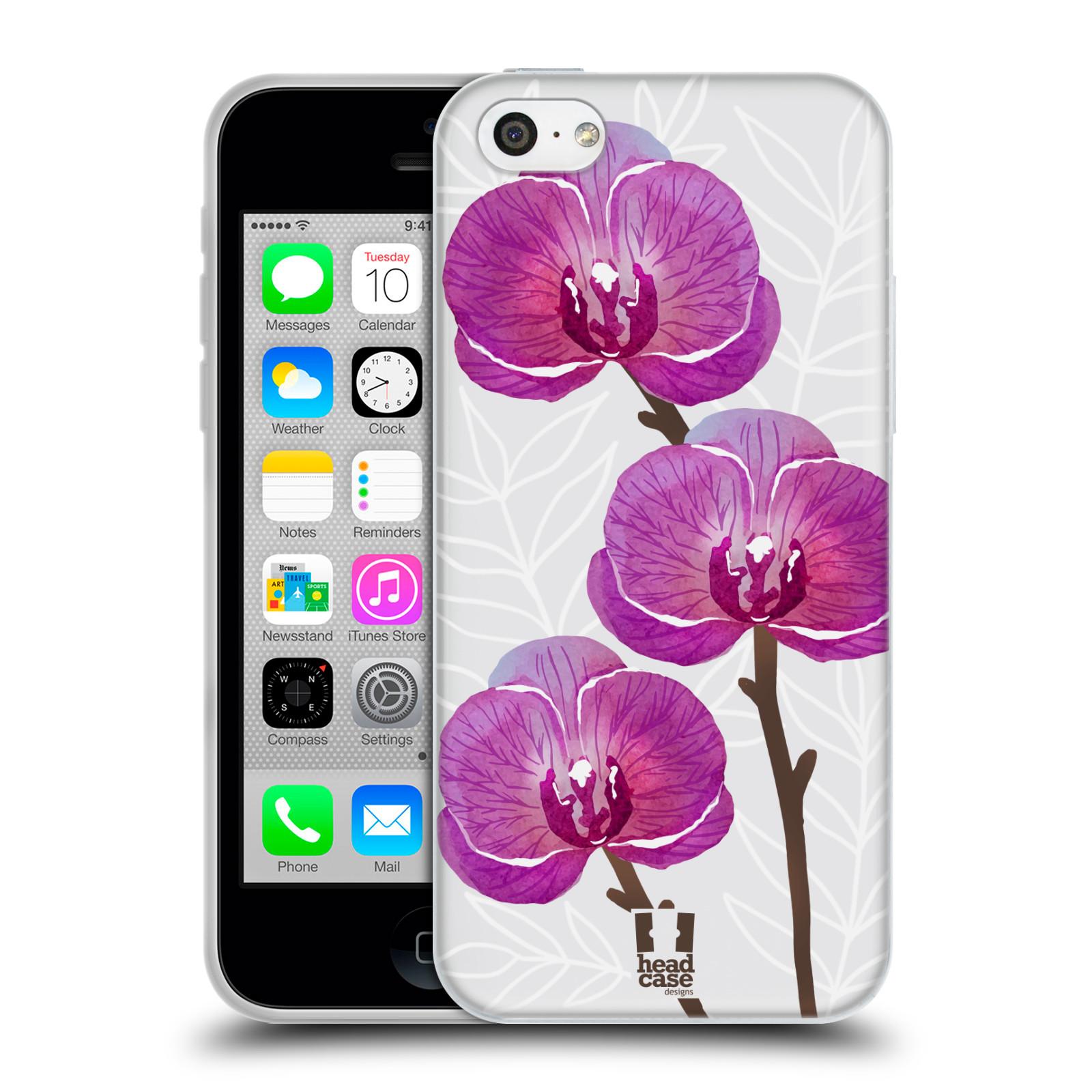 Silikonové pouzdro na mobil Apple iPhone 5C - Head Case - Hezoučké kvítky - průhledné