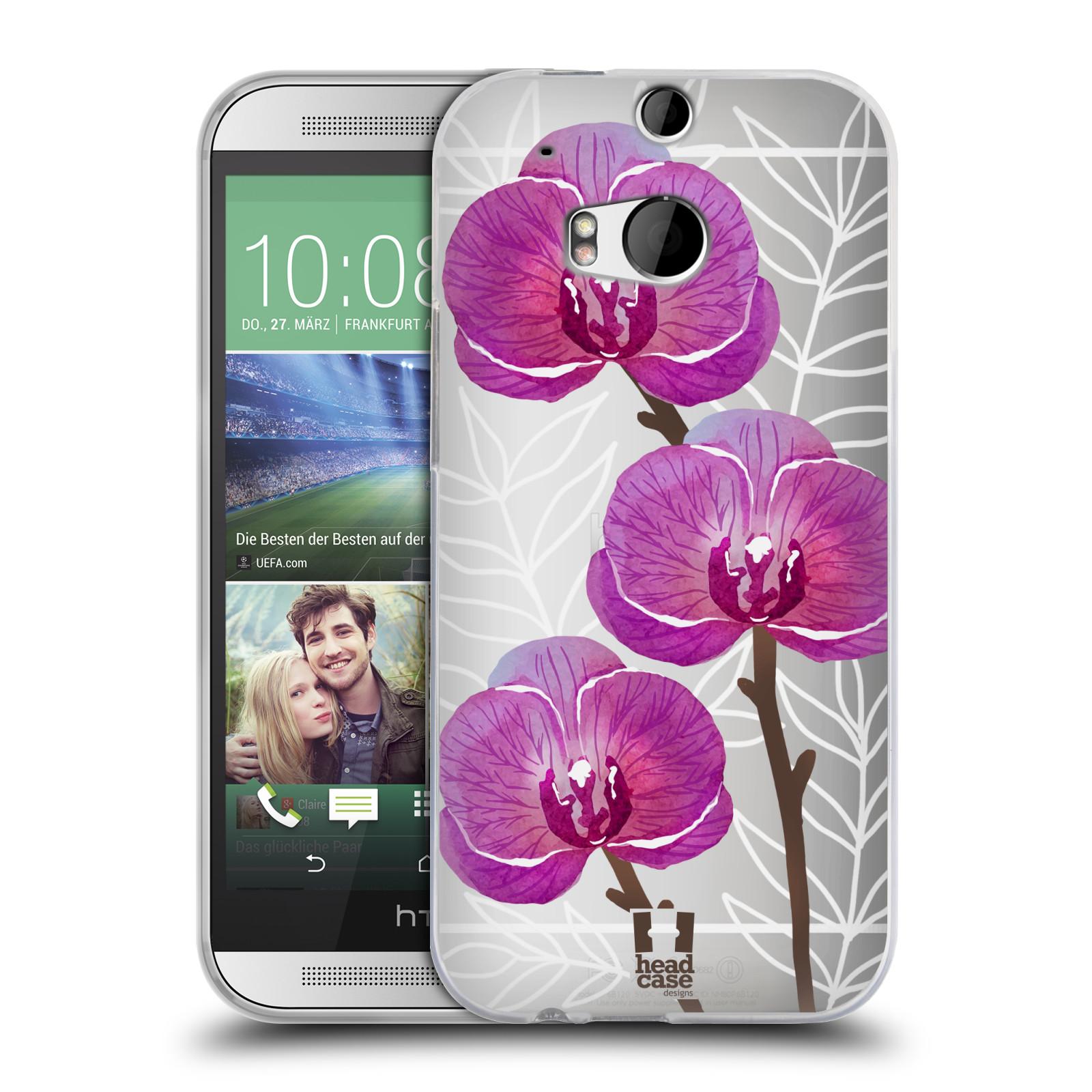 Silikonové pouzdro na mobil HTC ONE M8 - Head Case - Hezoučké kvítky - průhledné