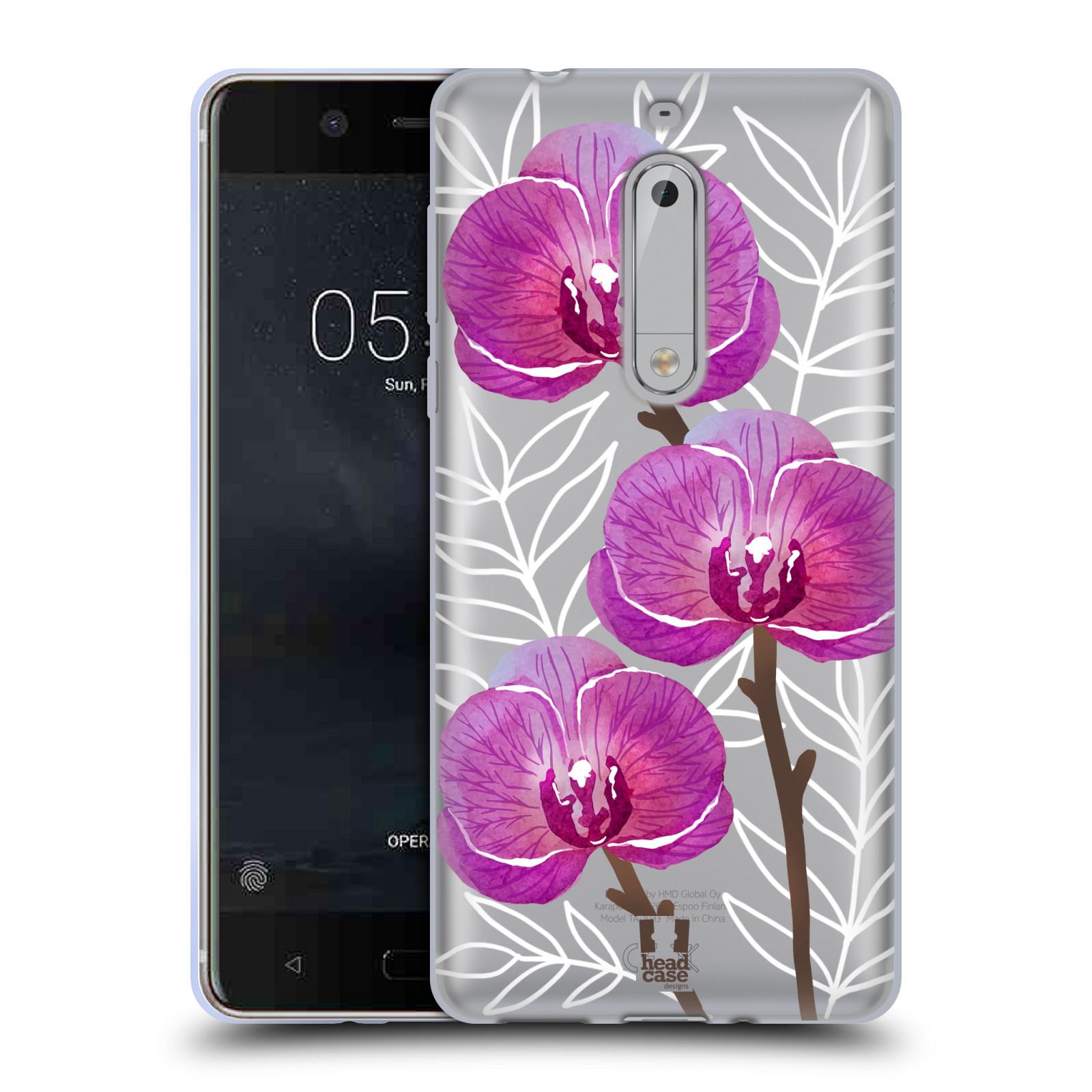 Silikonové pouzdro na mobil Nokia 5 Head Case - Hezoučké kvítky - průhledné