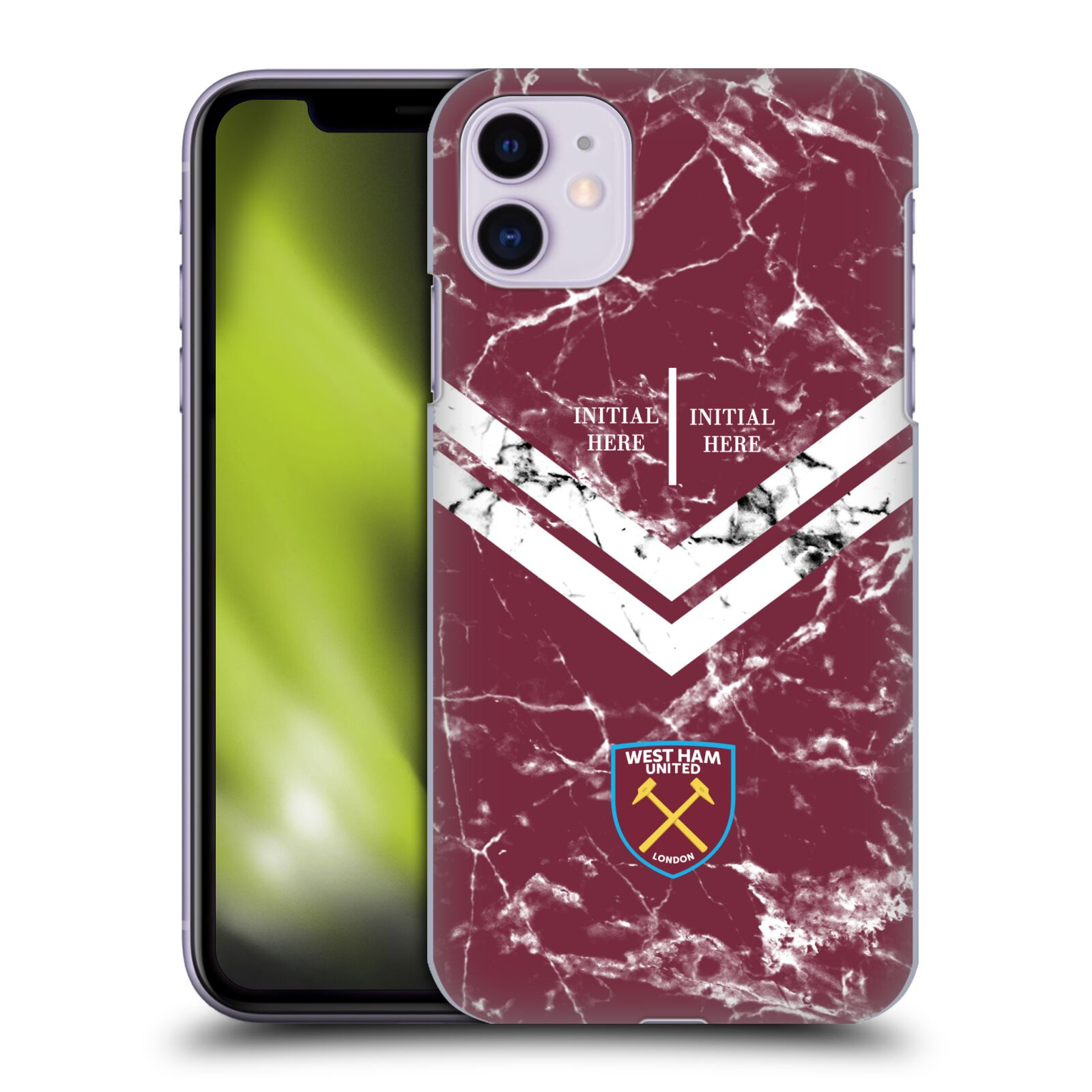 Personalisierte Individuelle West Ham United FC 2018/19 Marmor Hülle für Apple iPhone 11