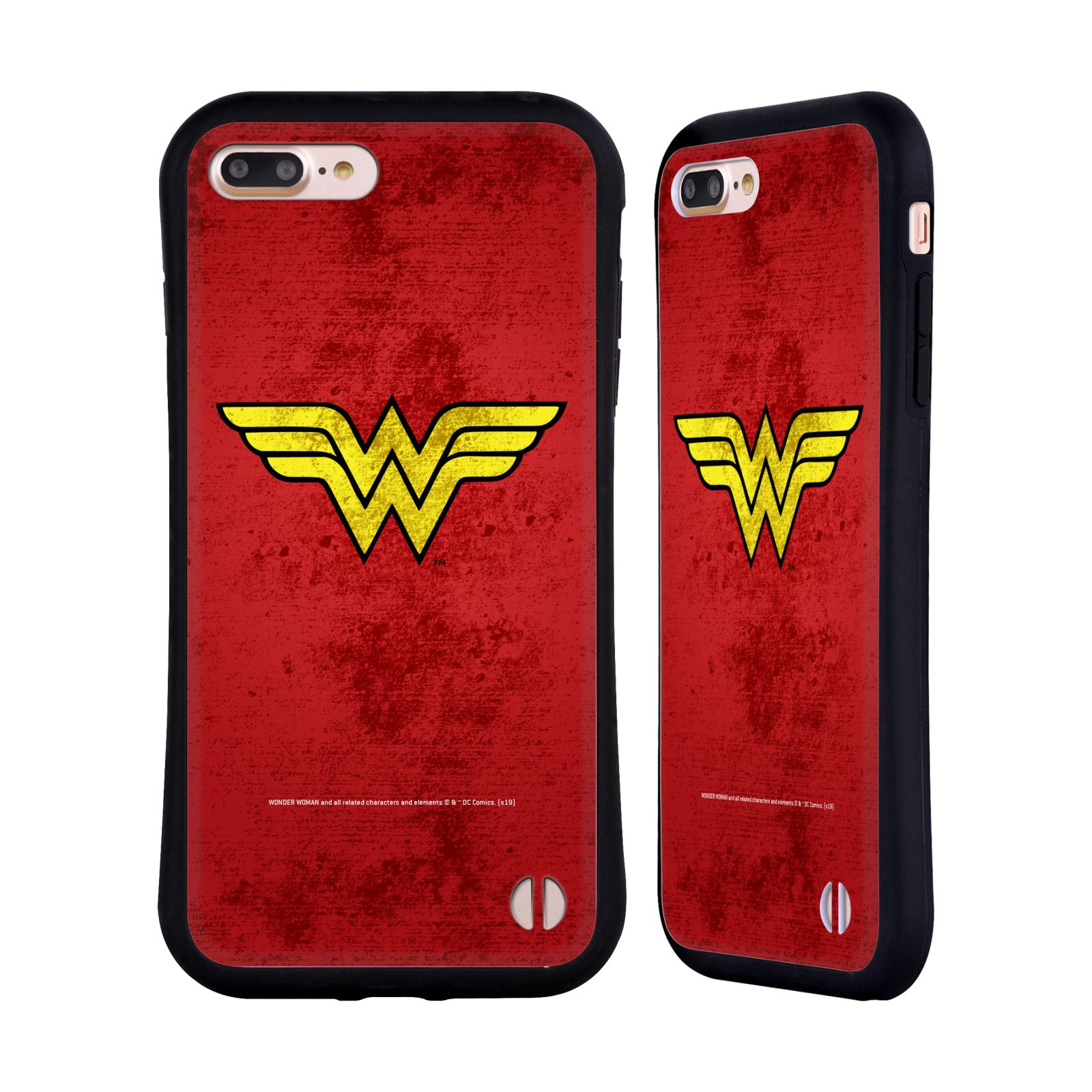 Official Wonder Woman DC Comics Logos Distressed Hybrid Case for Apple iPhone 7 Plus / iPhone 8 Plus