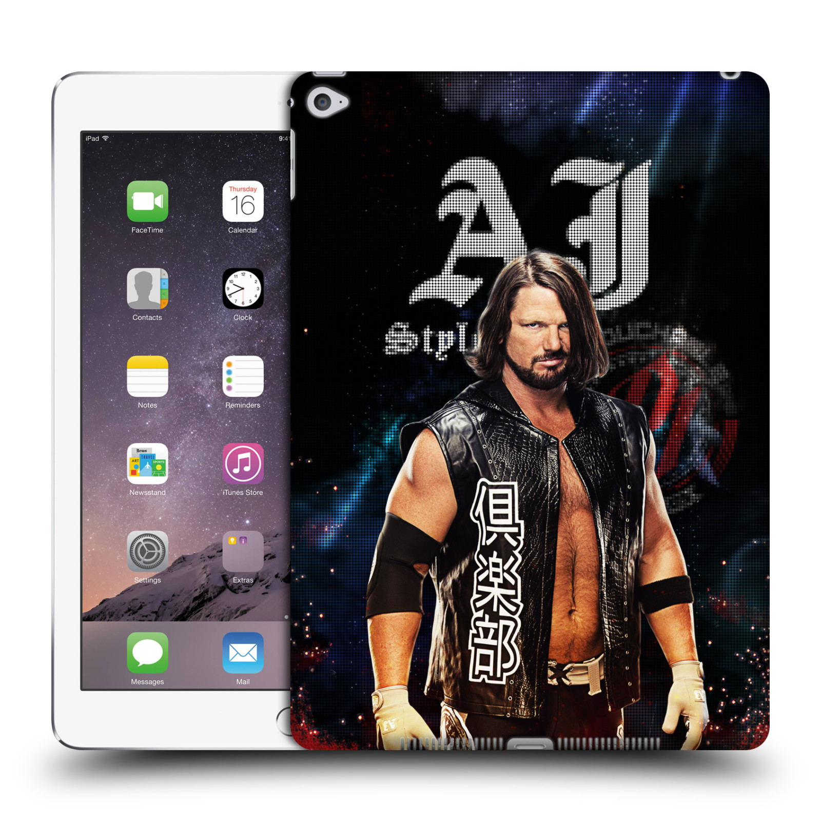 UFFICIALE-WWE-2017-AJ-STYLES-COVER-RETRO-RIGIDA-PER-APPLE-iPAD