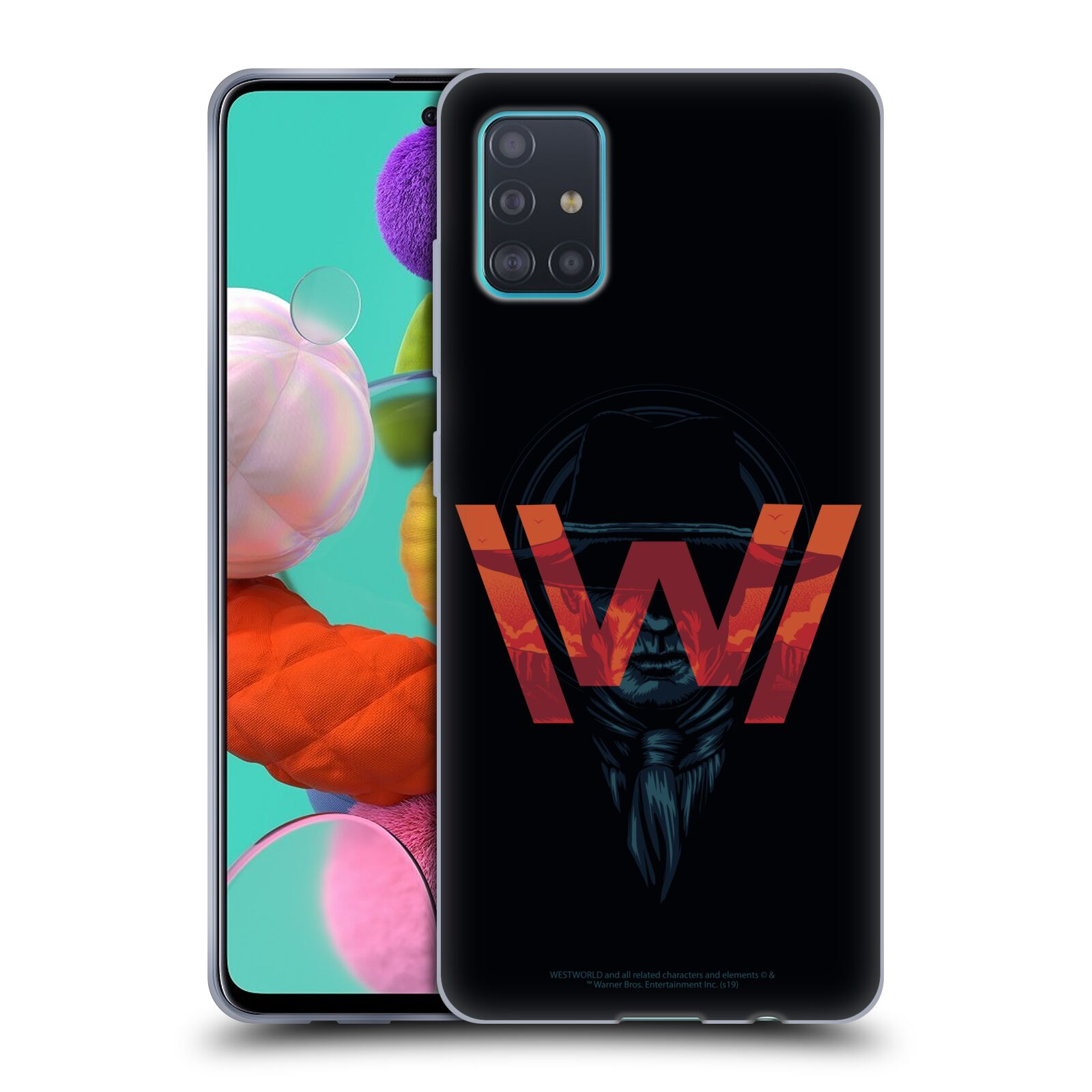 Official Westworld Logos Man In Black Gel Case for Samsung Galaxy A51 (2019)