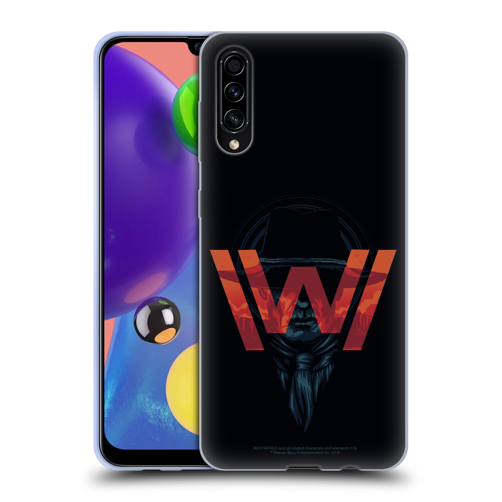 Official Westworld Logos Man In Black Gel Case for Samsung Galaxy A70s (2019)