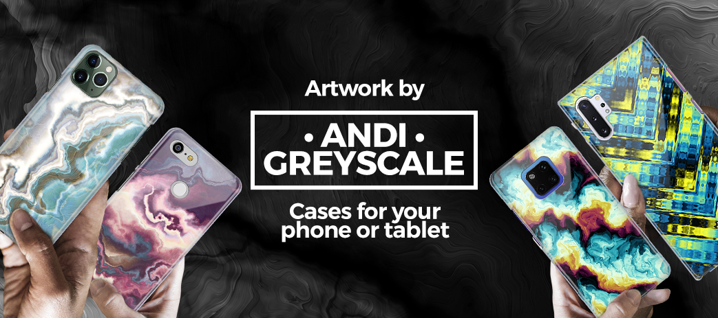 Phone Case, Tablet Case, Covers, Stickers, Skins Andi Greyscale