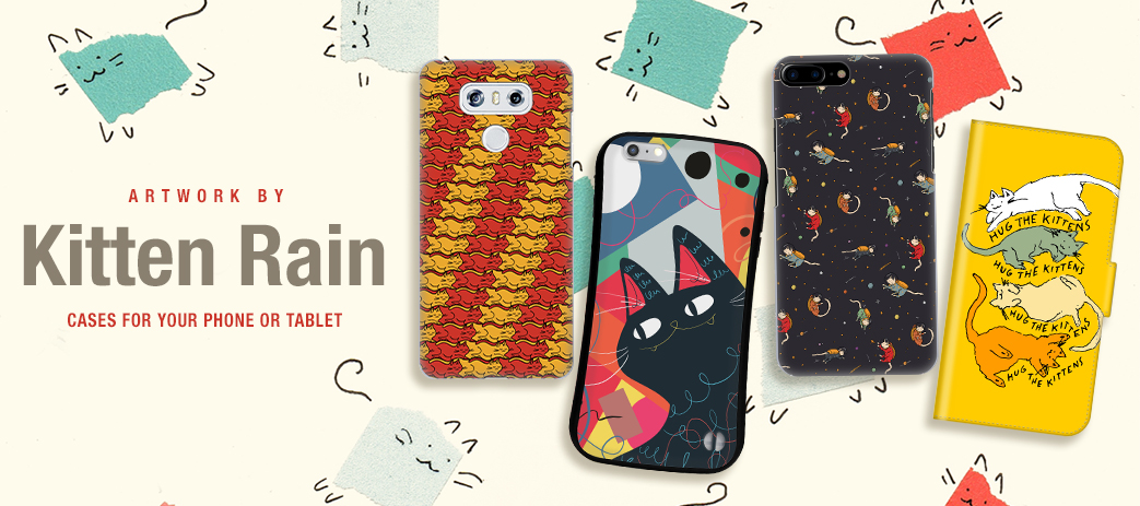 Phone Case, Tablet Case, Covers, Stickers, Skins Kitten Rain